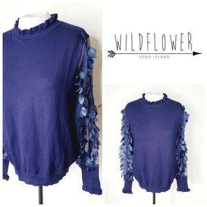 ANTHRO WILDFLOWER Unique Frou Frou Blue Sweater
